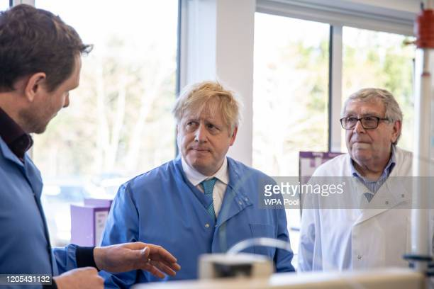 Prime Minister Boris Johnson visits the Mologic Laboratory in the Bedford technology Park on March 06 2020 in Bedford England The Prime Minister is...
