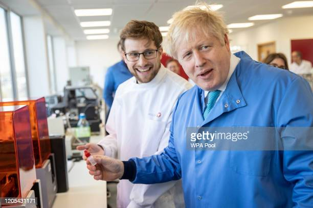 Prime Minister Boris Johnson visits the Mologic Laboratory in the Bedford technology Park on March 06, 2020 in Bedford, England. The Prime Minister...