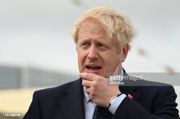 Prime Minister Boris Johnson visits the NLV Pharos, a lighthouse tender moored on the river Thames to mark London International Shipping Week on...