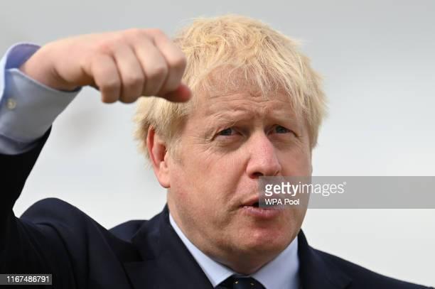 K Prime Minister Boris Johnson visits the NLV Pharos a lighthouse tender moored on the river Thames to mark London International Shipping Week on...