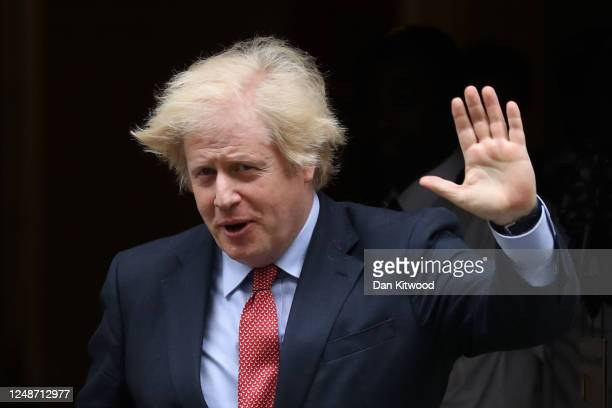 Prime Minister Boris Johnson waves as he departs Downing Street for PMQs on June 10, 2020 in London, England. The Prime Minister will answer...