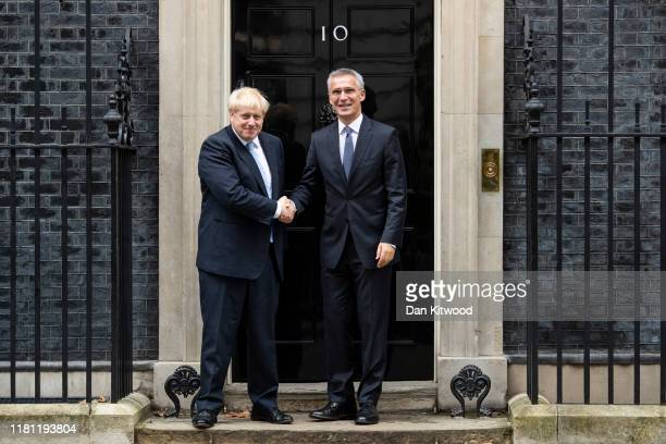 Prime Minister Boris Johnson welcomes NATO Secretary General Jens Stoltenberg to 10 Downing Street on October 15, 2019 in London, England.