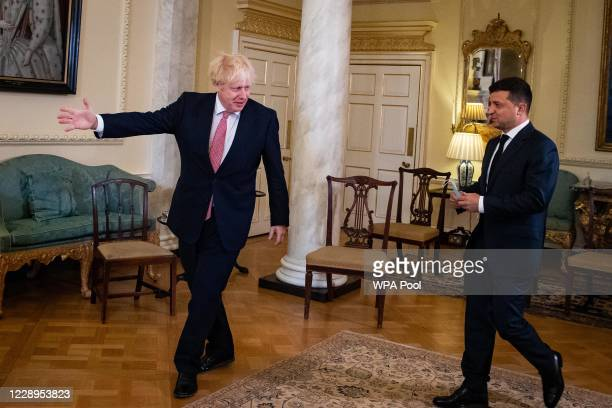Prime Minister Boris Johnson welcomes the President of Ukraine, Volodymyr Zelenskyy, ahead of a meeting to sign a strategic partnership deal with the...