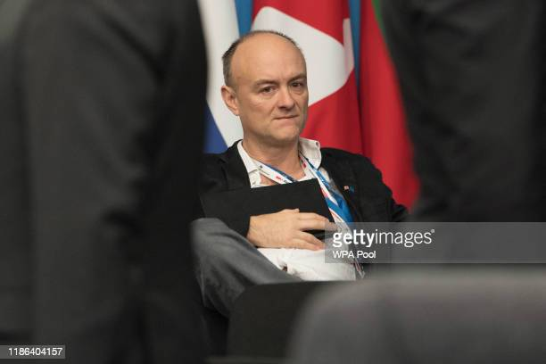 Prime Minister Boris Johnson's former senior adviser Dominic Cummings sits during the annual Nato heads of government summit on December 4 2019 in...