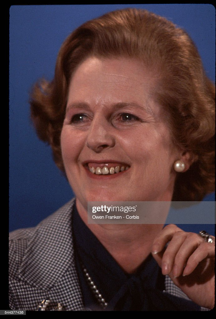 Prime minister candidate Margaret Thatcher during the 1979 British parliamentary election. Thatcher, representing the Conservative Party, would become the first female Prime Minister in Europe and would serve three consecutive terms.