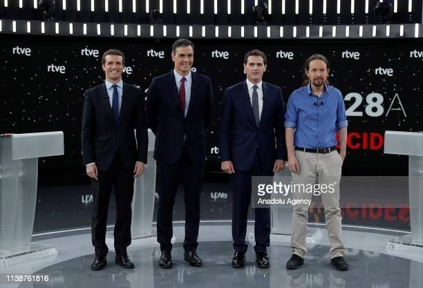 Prime Minister candidates Leader of Podemos party Pablo Iglesias Leader of Ciutadans political party Albert Rivera Leader of People's Party Pablo...