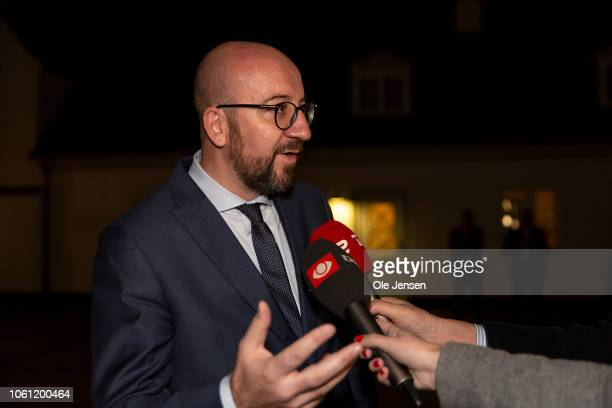 Prime Minister Charles Michel of Belgium speaks to the press during the ALDEgroup meeting in Denmark on November 13 2018 in Kongens Lyngby Denmark...