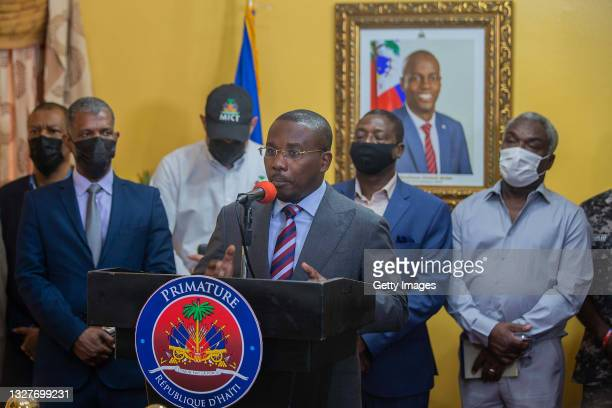 Prime Minister Claude Joseph speaks during a press conference at his residence on July 08, 2021 in Port-au-Prince, Haiti. Haitian president Jovenel...
