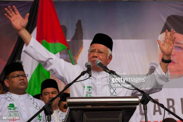 Prime minister Datuk Seri Najib Raza seen giving a speech at the rally Hundred of Malaysian people had gathered at Putrajaya Mosque to demonstrate...