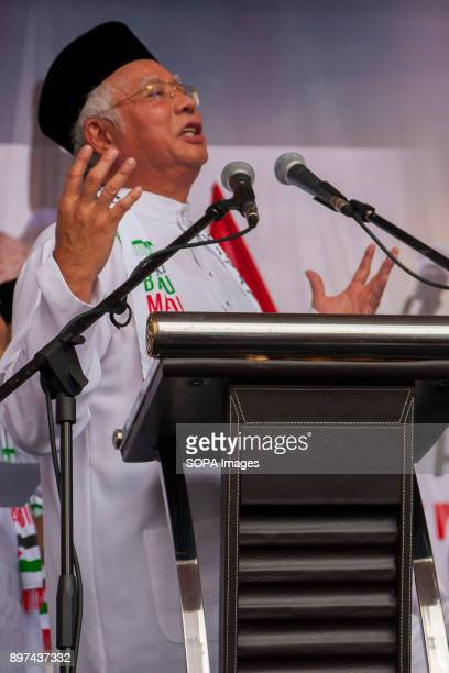 Prime minister Datuk Seri Najib Razak seen giving a speech during the demonstration Hundred of Malaysian people had gathered at Putrajaya Mosque to...