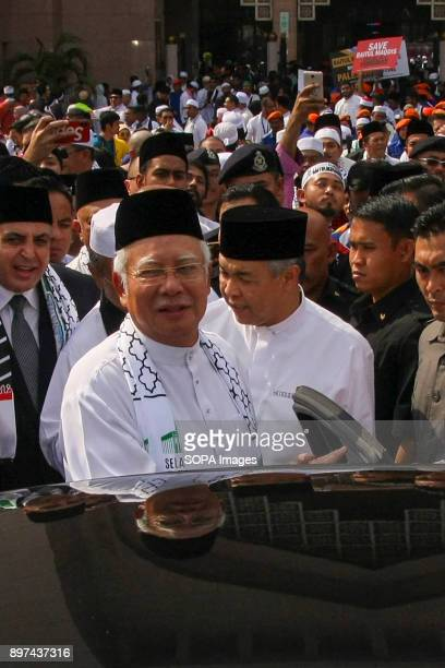 Prime minister Datuk Seri Najib Razak seen leaving from the rally Hundred of Malaysian people had gathered at Putrajaya Mosque to demonstrate against...