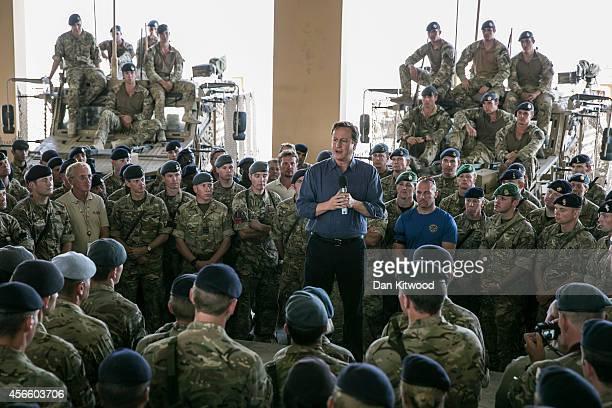 Prime Minister David Cameron addresses british troops on October 3 2014 in Camp Bastion Afghanistan David Cameron Visits Camp Bastion the Britishrun...