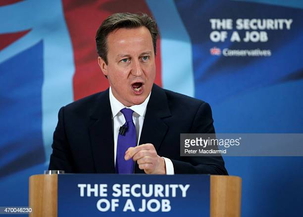 Prime Minister David Cameron addresses Fujitsu employees on April 17 2015 in Birmingham England The leader of the Conservative Party is spending the...