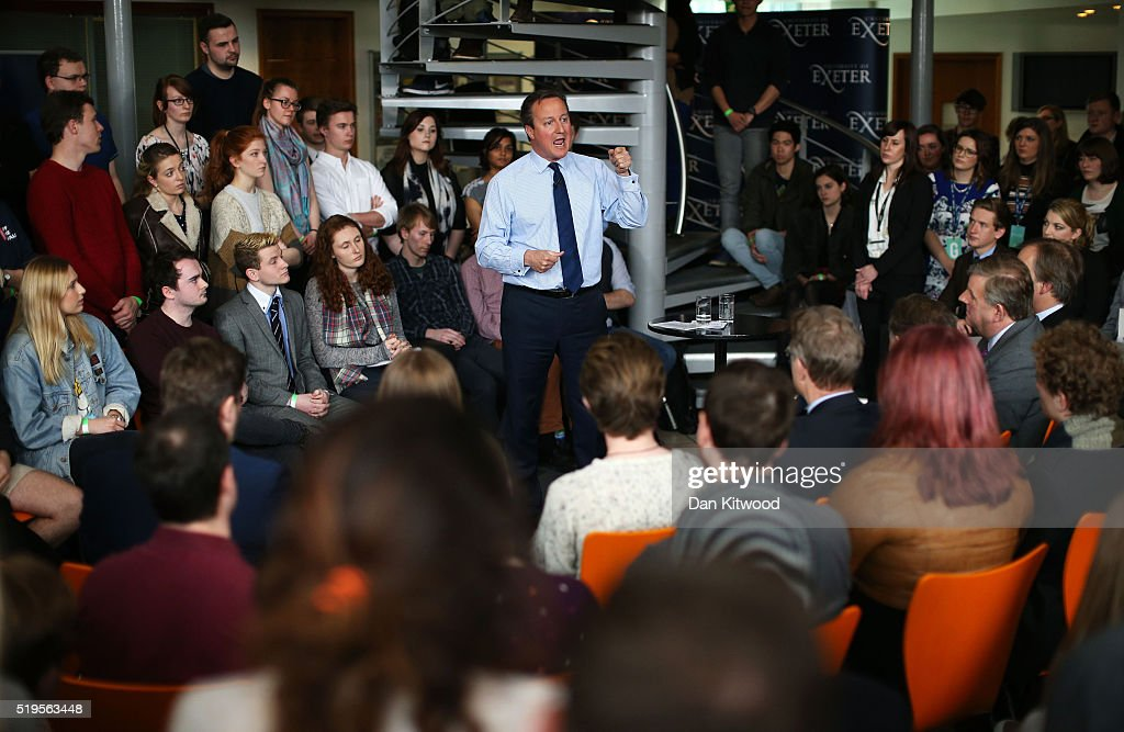Prime Minister, David Cameron addresses students at Exeter University on April 7, 2016 in Exeter, England. The Government have announced that every household in the country will receive a taxpayer-funded leaflet on the referendum setting out the case for Britain to remain in the European Union. The UK will vote on whether or not to remain in the European Union on June 23, 2016.