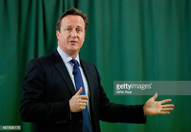 Prime Minister David Cameron addresses the audience after introducing the Conservative Party's two applicants councillors Anna Firth and Kelly...