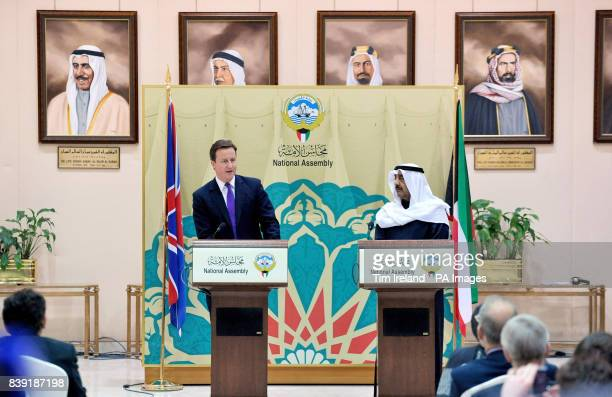 Prime minister David Cameron alongside Speaker Jassem AlKharafi delivers a speech in the Kuwait National Assembly