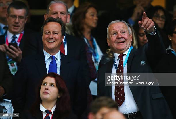 Prime Minister David Cameron and Bill Beaumont during the opening ceremony of the 2015 Rugby World Cup Pool A match between England and Fiji at...