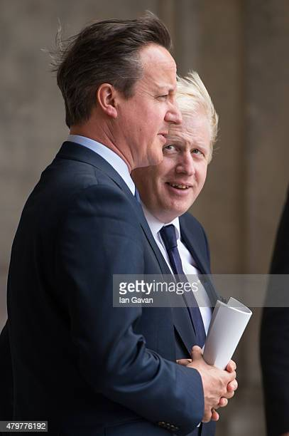 Prime Minister David Cameron and Boris Johnson depart after the service to commemorate the tenth anniversary of the London 7/7 bombings at St Pauls...
