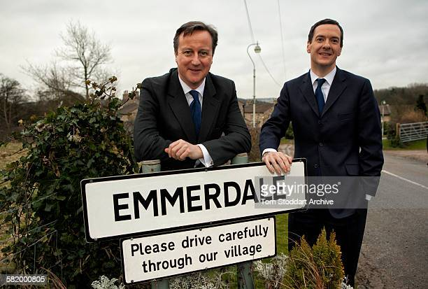 Prime Minister David Cameron and Chancellor George Osborne photographed during a visit to the set of Emmerdale Yorkshire The Prime Minister and his...