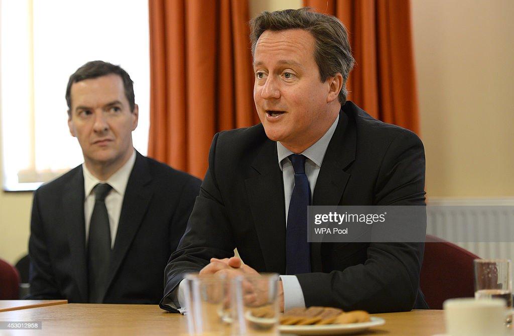 David Cameron and George Osborne Visit Eastbourne Pier : News Photo