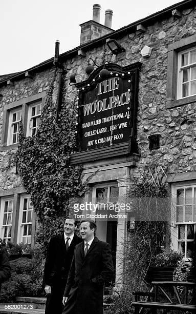Prime Minister David Cameron and Chancellor George Osborne pictured outside The Woolpack on the set of Emmerdale Yorkshire The pair were visiting the...