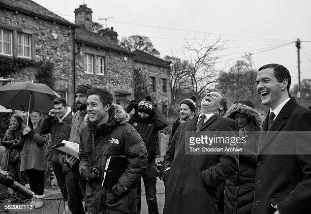 Prime Minister David Cameron and Chancellor George Osborne pictured enjoying their visit to the set of Emmerdale Yorkshire The pair were visiting the...