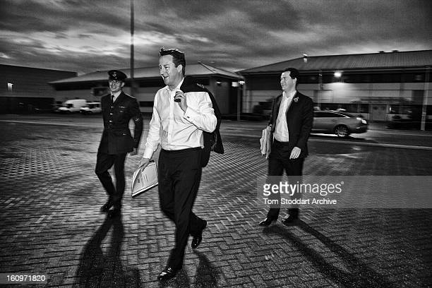 Prime Minister David Cameron and Chancellor of the Exchequer George Osborne are escorted to an aircraft at RAF Northolt before departing to attend...