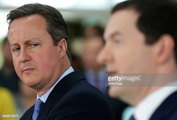 Prime Minister David Cameron and Chancellor of the Exchequer George Osborne deliver a speech on the potential economic impact to the UK on leaving...
