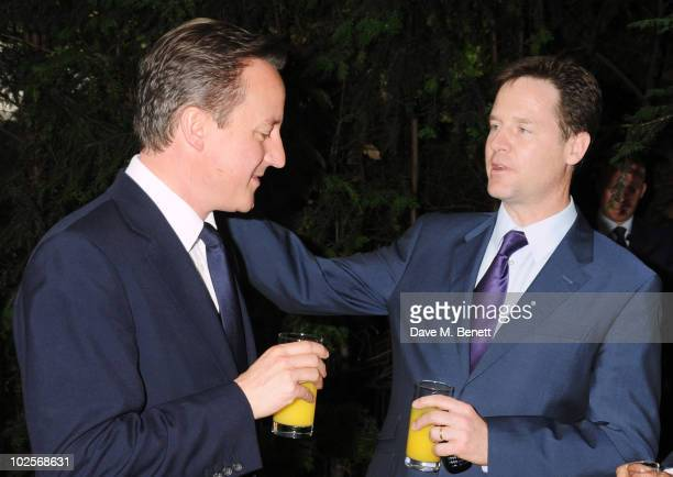 Prime Minister David Cameron and Deputy Prime Minister Nick Clegg attend The Spectator Summer Party on July 1 2010 in London England