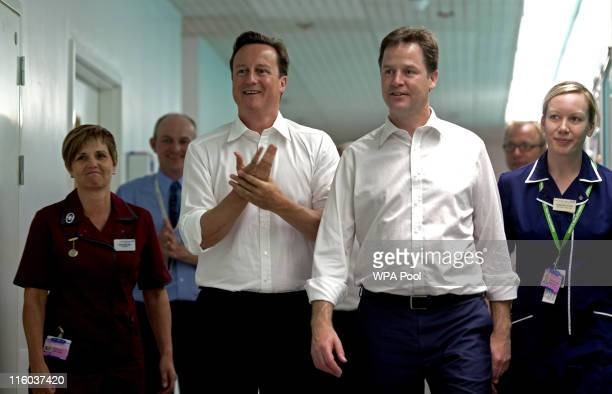 Prime Minister David Cameron and Deputy Prime Minister Nick Clegg visit Guy's Hospital on June 14 2011 in London England The Prime Minister is today...