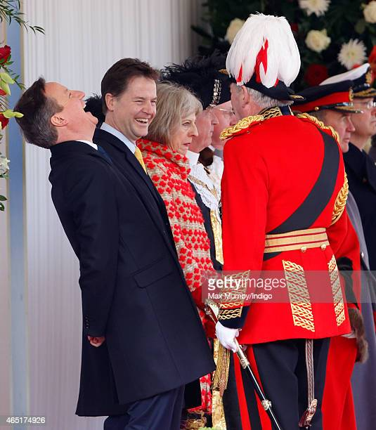 Prime Minister David Cameron and Deputy Prime Minister Nick Clegg talk with Lord Samuel Vestey as they attend the Ceremonial Welcome for Mexican...