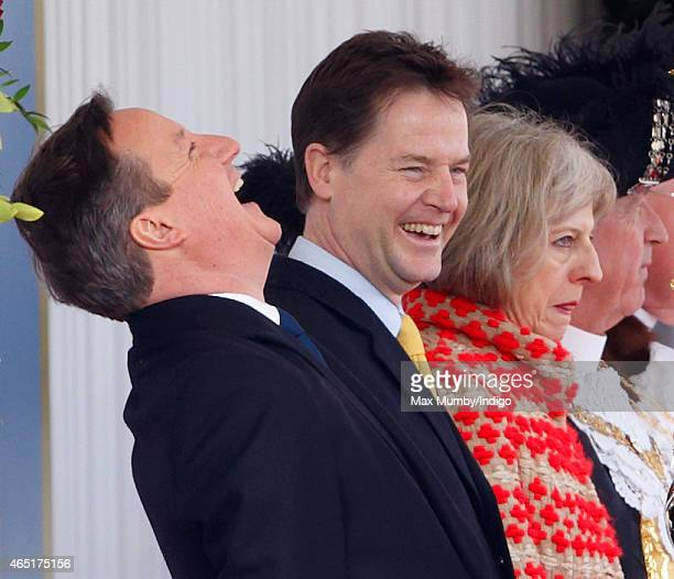 Prime Minister David Cameron and Deputy Prime Minister Nick Clegg attend the Ceremonial Welcome for Mexican President Enrique Pena Nieto at Horse...