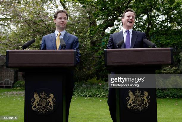 Prime Minister David Cameron and Deputy Prime Minister Nick Clegg hold their first joint press conference in the Downing Street garden on May 12 2010...