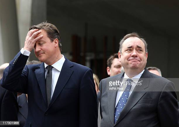 Prime Minister David Cameron and First Minister Alex Salmond attend the Drumhead Service on June 25 2011 in Edinburgh Scotland Prince Charles and...