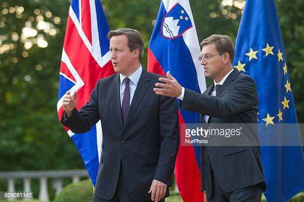 Prime Minister David Cameron and his Slovenian counterpart Miro Cerar. Cameron is visiting Slovenia to drum up support for Britain's proposals to...