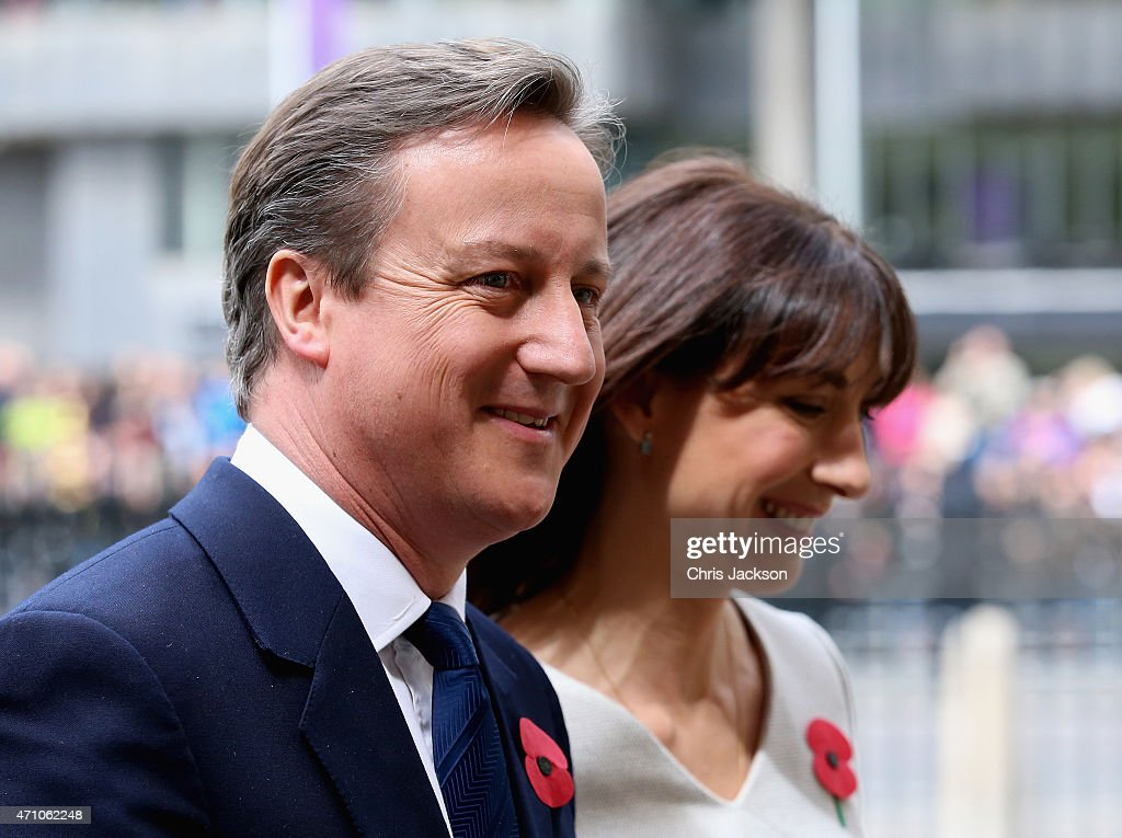 Prime Minister David Cameron and his wife Samantha attend a Service of Commemoration and Thanksgiving to mark the ANZAC Landings at Westminster Abbey on April 25, 2015 in London, England.