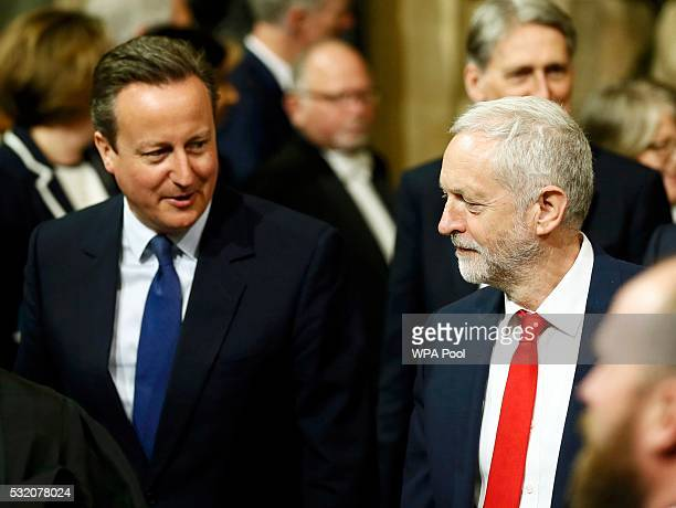 Prime Minister David Cameron and Labour Party leader Jeremy Corbyn walk to the House of Lords for the State Opening of Parliament at the Palace of...