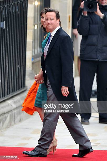 Prime Minister David Cameron and Samantha Cameron arrive to attend the Royal Wedding of Prince William to Catherine Middleton at Westminster Abbey on...