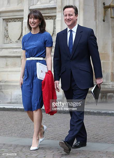 Prime Minister David Cameron and Samantha Cameron leave the VE Day 70th Anniversary service at Westminster Abbey on May 10 2015 in London England