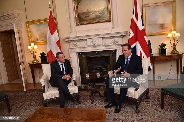 Prime Minister David Cameron and the Danish Prime Minister Lars Lokke Rasmussen meet at Downing Street on September 21 2015 in London England David...