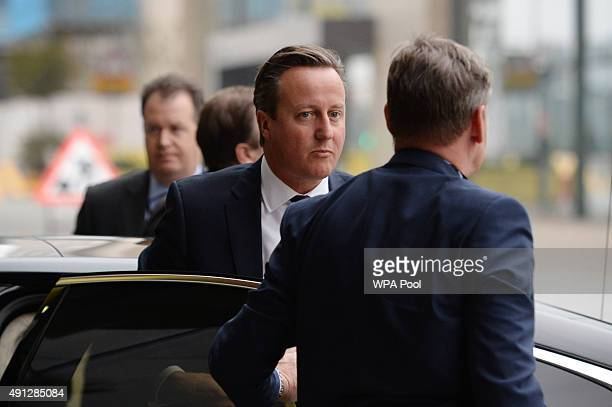 Prime Minister David Cameron arrives at the BBC studios to be interviewed by Andrew Marr on his BBC1 current affairs programme at Media City before...