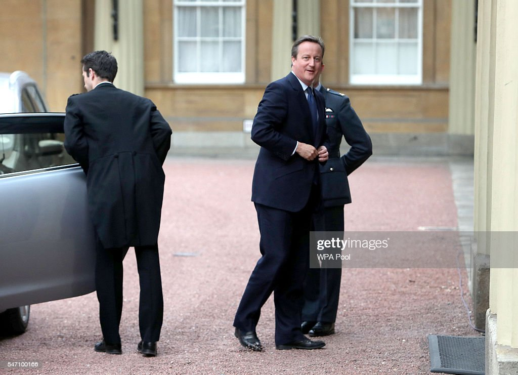 Prime Minister David Cameron arrives for an audience with Queen Elizabeth II to formally resign as Prime Minister at Buckingham Palace on July 13, 2016 in London, England. David Cameron leaves Downing Street today having been Prime Minister of the United Kingdom since May 2010 and Leader of the Conservative Party since December 2005. He is succeeded by former Home Secretary Theresa May and will remain as Member of Parliament for Witney in Oxfordshire.