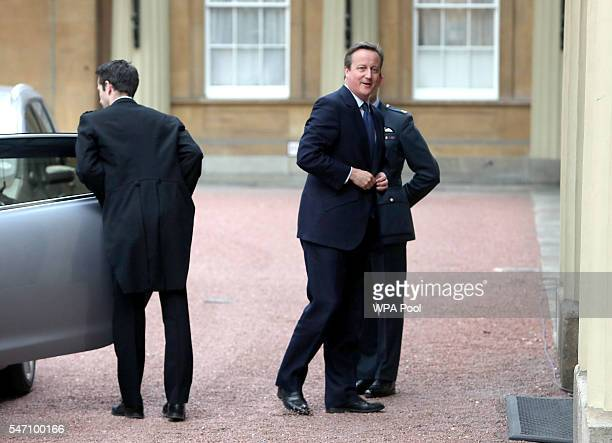 Prime Minister David Cameron arrives for an audience with Queen Elizabeth II to formally resign as Prime Minister at Buckingham Palace on July 13...