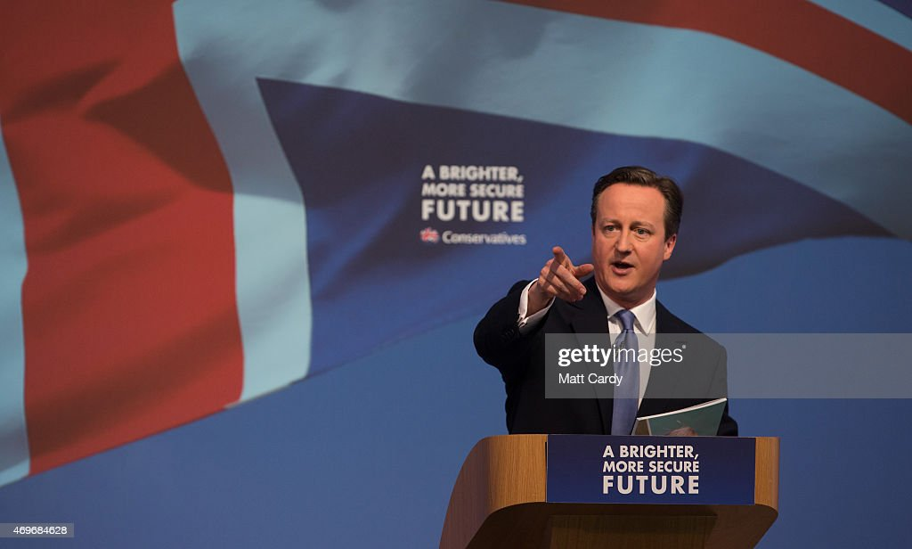 Prime Minister David Cameron arrives to unveil the Conservative party manifesto on April 14, 2015 in Swindon, England. The Conservatives have launched their election manifesto with a promise to extend the right to buy housing scheme for housing association tenants living in England.