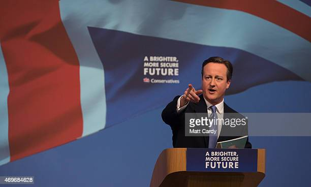 Prime Minister David Cameron arrives to unveil the Conservative party manifesto on April 14 2015 in Swindon England The Conservatives have launched...