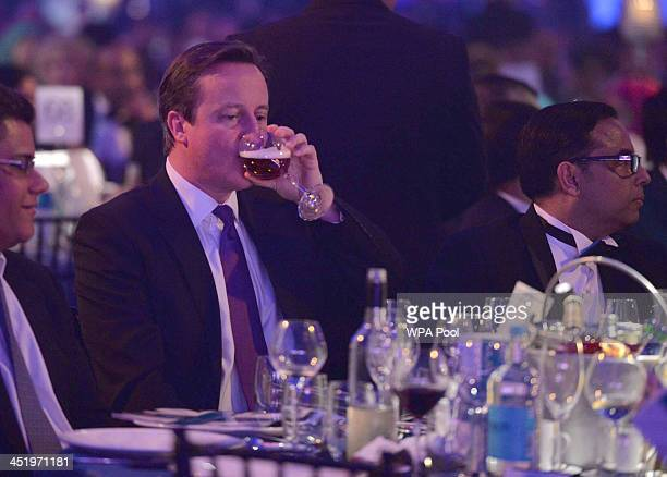 Prime Minister David Cameron attends the British curry awards at Battersea Evolution on November 25 2013 in London England