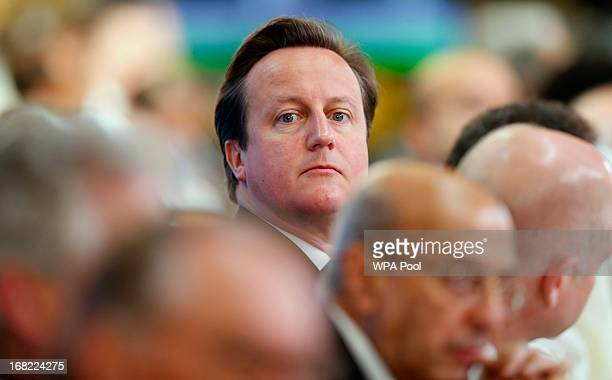 Prime Minister David Cameron attends the Somali conference on May 7 2013 in London England The international conference aims to help rebuild the east...