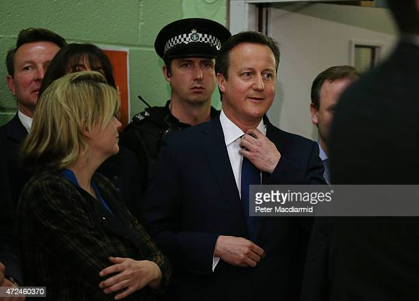 Prime Minister David Cameron awaits his constituency declaration on May 8 2015 in Witney England The United Kingdom has gone to the polls to vote for...