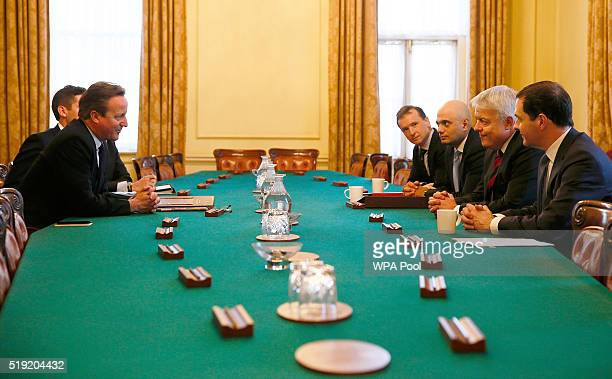Prime Minister David Cameron chairs a meeting about Tata Steel's British assets attended by Business Secretary Sajid Javid the First Minister of...