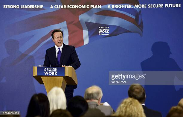 Prime Minister David Cameron delivers a speech in a garden shed warehouse during a campaign event on April 22 2015 in Bedford England Britain goes to...